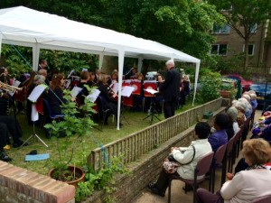 The band playing at the Friends' Meeting House last year