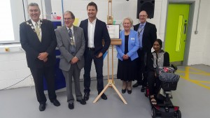 Councillor Cook, Richard, George Clark, Mavis Peart, the Principal, Councillor Patel
