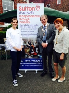Amanda Beck of Sutton Shopmobility, with Richard and Gloria at the Wallington Music Festival