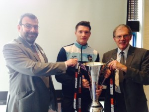 Richard with Councillor Wales and Dean from Sutton United with the trophy United won last season