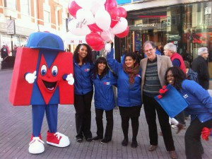 Richard helping to open the Metrobank in Sutton