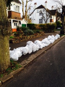 The bags of rubbish collected by the Highfields Residents' Association