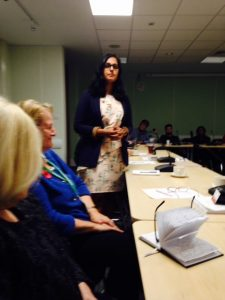 Amna addressing the Sutton Liberal Democrat Group